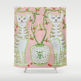 Oriental Staffordshire Cats on Pink Shower Curtain