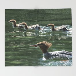 Mother Merganser and Young on the Move Throw Blanket