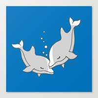 dolphins Canvas Prints featuring Dolphins by joanfriends