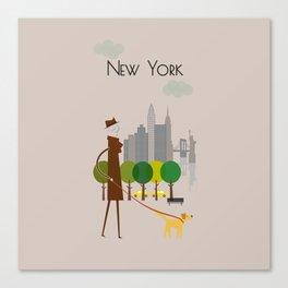 New York - In the City - Retro Travel Poster Design Canvas Print