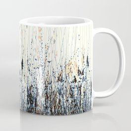 Delicate Wildflowers Wavy Lines Nature Light Yellow Blue Peach Coffee Mug