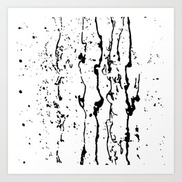 poured paint blots black and white Art Print