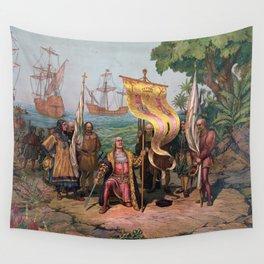 Columbus Landing in America Painting (1892) Wall Tapestry
