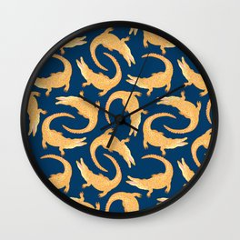 Crocodiles (Navy and Yellow Palette) Wall Clock