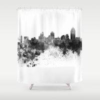 cincinnati Shower Curtains featuring Cincinnati skyline in black watercolor by Paulrommer