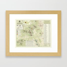 Colorado 14er's (Green hue) hiking map Framed Art Print