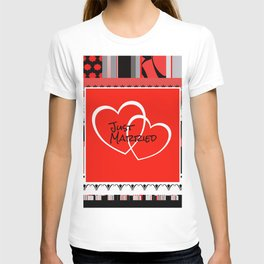 just Married Hearts red pattern II T-shirt
