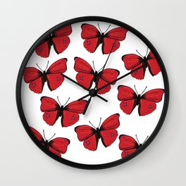 Red butterfly Spring Art Wall Clock