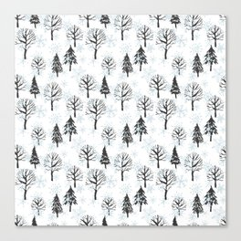 Xmas trees. Winter forest Canvas Print