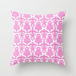 Floral Pattern Pink Throw Pillow