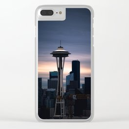 Space Needle Sunset - Seattle Nights Clear iPhone Case