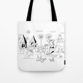 Funny Figurative Line Drawing of Alys Beach Community on 30a Tote Bag