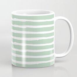 Elegant Stripes Pastel Cactus Green and White Coffee Mug