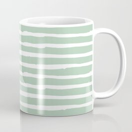 Elegant Stripes Pastel Cactus Green and White Coffee Mug