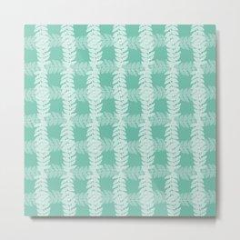 Trailing Leaves Grid Pattern Metal Print
