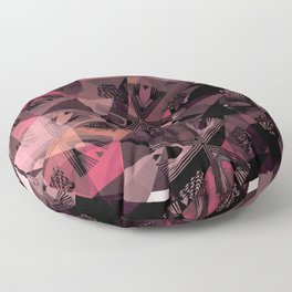 Lavender Red Brown Abstract Geometric Triangle Polygon Seedpod  Illustration Floor Pillow