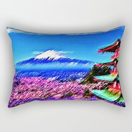 Cherry blossoms in full bloom with snow-capped Mount Fuji of Japan Landscape by Jéanpaul Ferro Rectangular Pillow