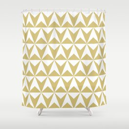 Mid Century Modern Triangle Pattern 531 Gold Shower Curtain