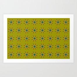 Granny Flowers Starbursts Art Print
