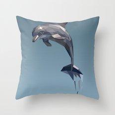 Geometric Dolphin Throw Pillow