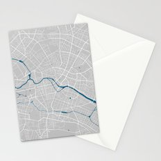 Berlin city map grey colour Stationery Cards
