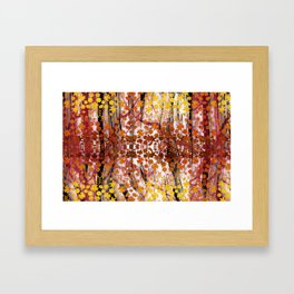 Golden copper autumn foliage and flowers painting Framed Art Print