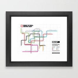 Rock'n'Roll Metro Map Framed Art Print