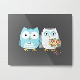 Owls Wedding Day | Cute Bride and Groom Metal Print