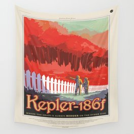Kepler-186 : NASA Retro Solar System Travel Posters Wall Tapestry