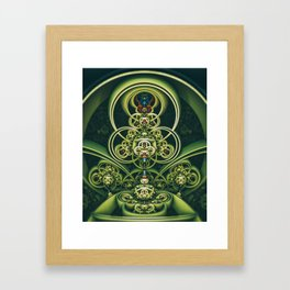 Time Shell IV. Green Abstract Geometry Framed Art Print