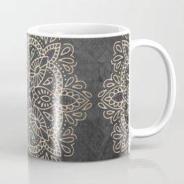Mandala White Gold on Dark Gray Coffee Mug