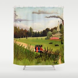 13,000px,600dpi-Henri Rousseau - Landscape and Four Young Girls - Digital Remastered Edition Shower Curtain