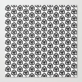 Hand drawn flower doodle pattern Canvas Print