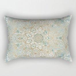 Mandala Flower, Teal and Gold, Floral Prints Rectangular Pillow