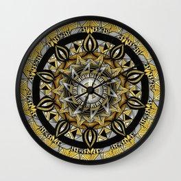Manipura solar plexus chakra mandala. Wall Clock