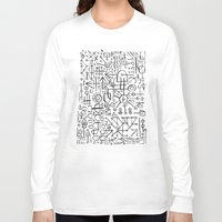 writing Long Sleeve T-shirts featuring ALIEN WRITING by Matthew Taylor Wilson
