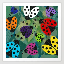 Rainbow Ladybirds Art Print