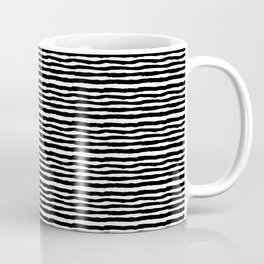 Black Painted Squiggly Lines on White Coffee Mug