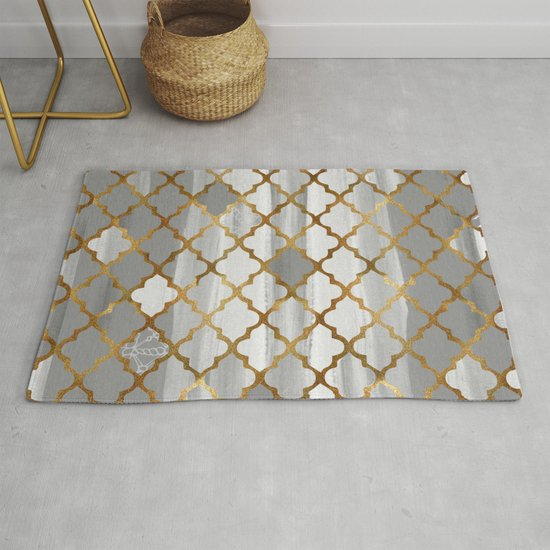 Moroccan Tile Pattern In Grey And Gold by ekaterinac
