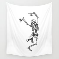 tupac Wall Tapestries featuring Dancer Skeleton by Hottest Dog In Town