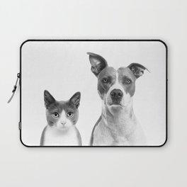 Cute Kitty Cat And Puppy Portrait Art Print, Cat And Dog Animal Nursery, Baby Animals Wall Art Decor Laptop Sleeve