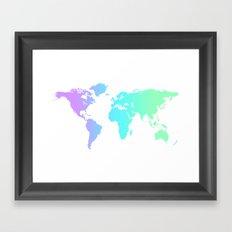Ocean Gradient World Map Framed Art Print
