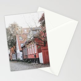 Pink house on Aarhus' old city street | Møllestien, Aarhus, Denmark Stationery Cards