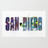 san diego Area & Throw Rugs featuring San Diego by Tonya Doughty