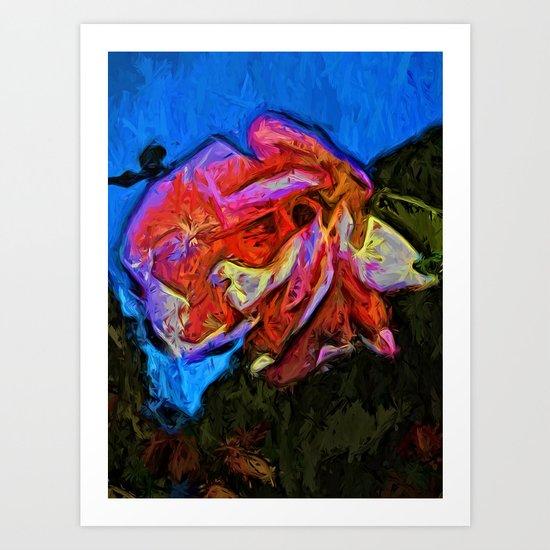 Wild Pink and Orange Rose under the Blue Sky Art Print