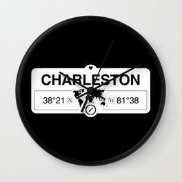 Charleston West Virginia GPS Coordinates Map Artwork Wall Clock
