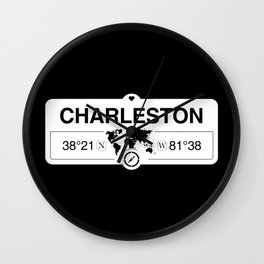 Charleston West Virginia GPS Coordinates Map Artwork Wall Clock