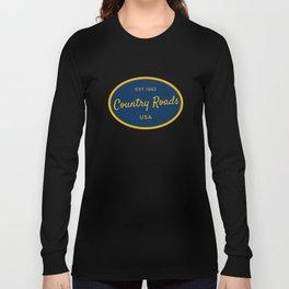 Country Roads West Virginia Vintage Print Long Sleeve T-shirt
