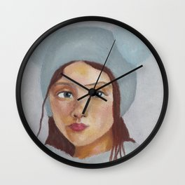 Girl in the Hat by Lu Wall Clock