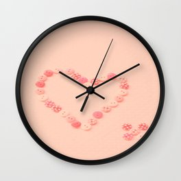 Button Heart  Wall Clock